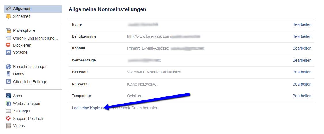 Facebook Kontoeinstellungen