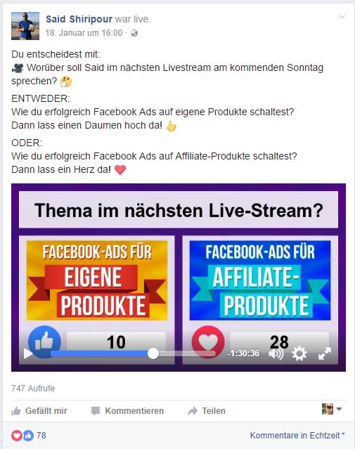 Facebook Live Video Umfrage