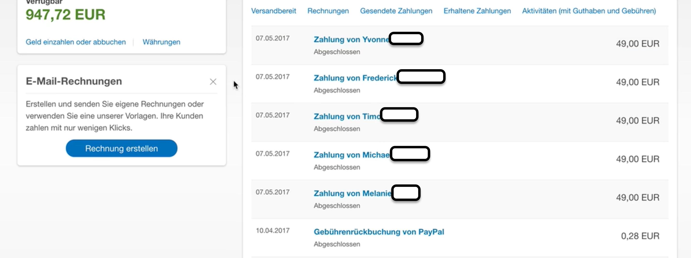 Paypal Überweisungen der 5 Verkäufe am Sonntag - Online Business aufbauen