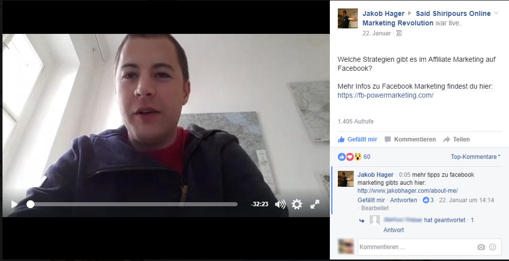 Jakob Live in Facebook Gruppe, um Facebook Reichweite zu erhöhen