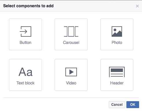 Facebook Canvas Elemente auswählen