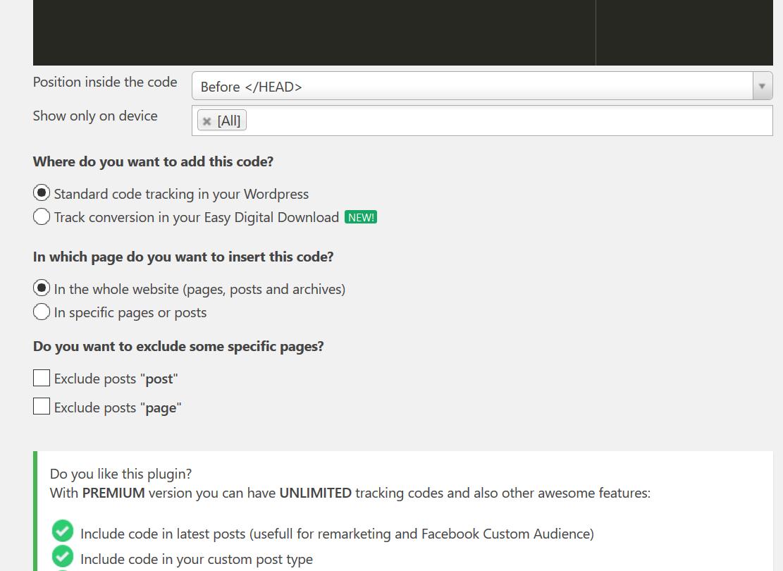 Facebook Pixel WordPress mit Tracking Code Manager
