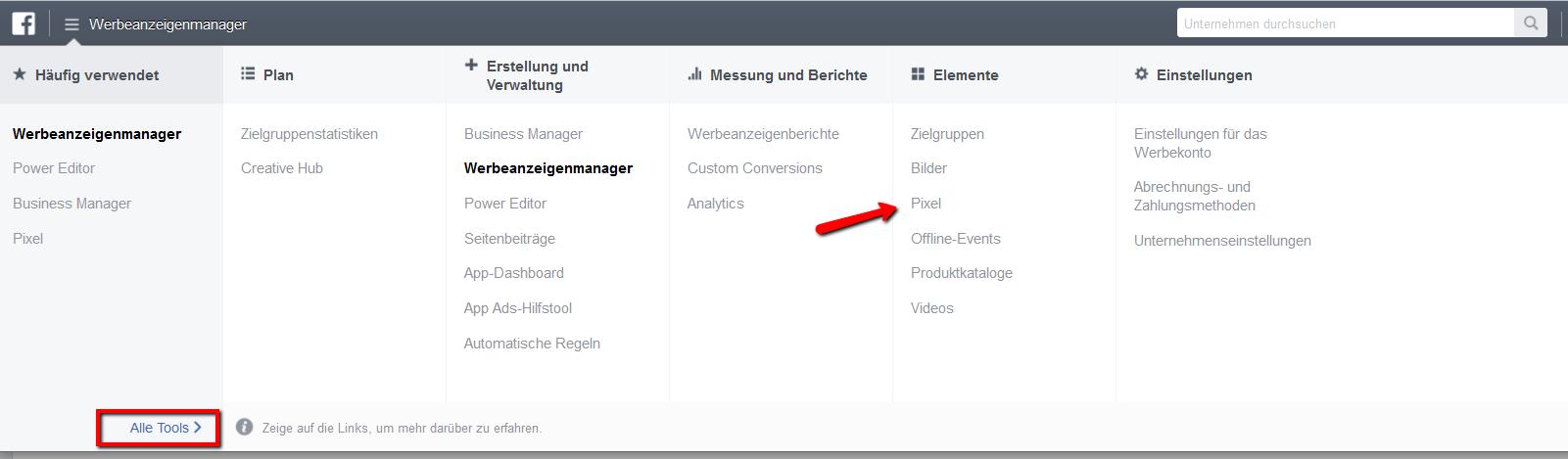 Facebook Pixel für WordPress aus dem Werbeanzeigenmanager generieren