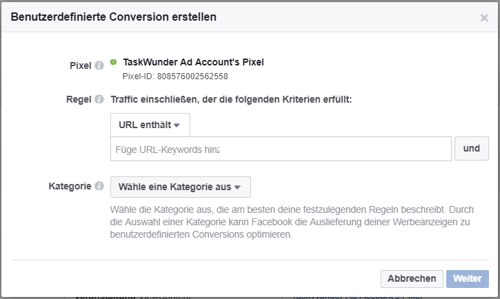 Benutzerdefinierte Conversion für Facebook Remarketing