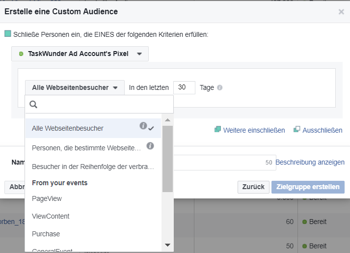 Custom Audience für Facebook Remarketing erstellen