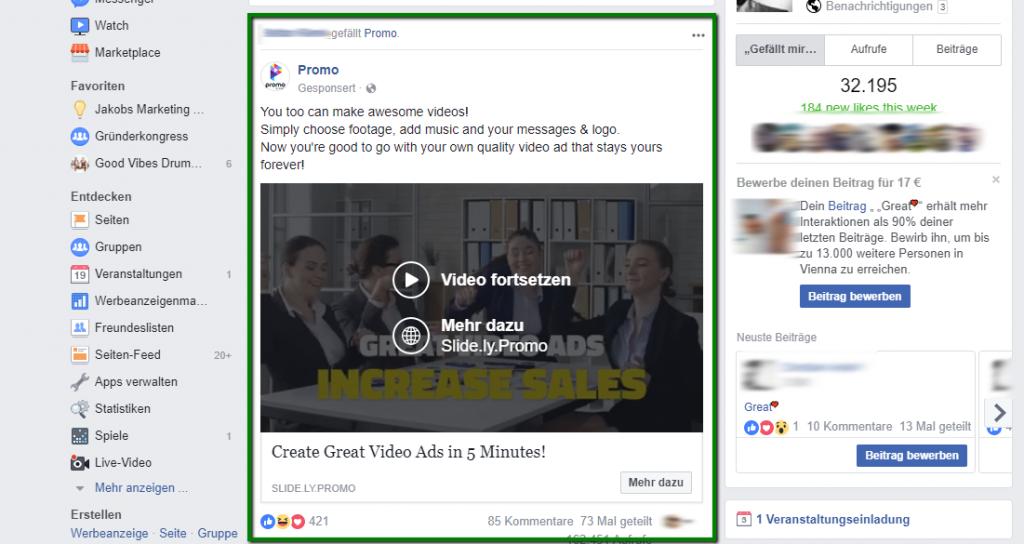 Facebook Platzierungen News Feed Ads