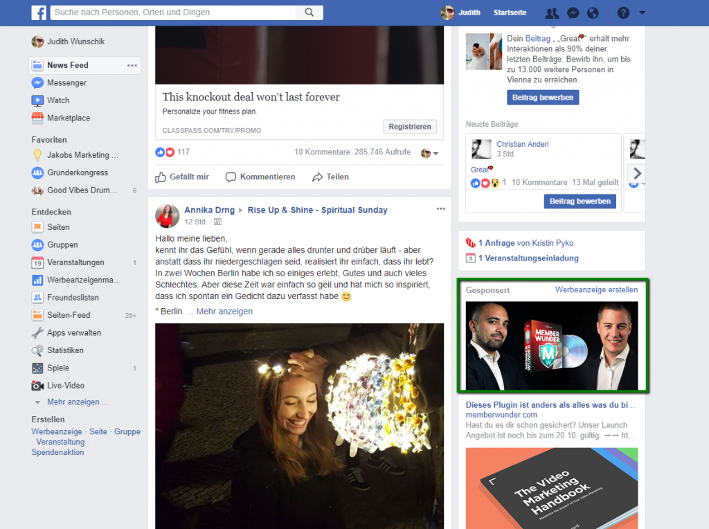 Facebook Platzierungen - rechte Spalte