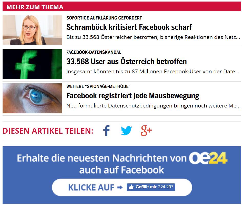 OE24 zeigt Facebook kritische Berichte und darunter direkt Werbung für die eigene Facebook Seite